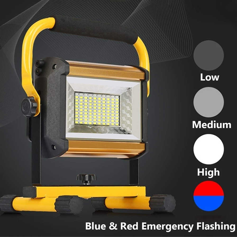 100W LED luce di Inondazione Impermeabile Luce Esterna Riflettore LED Esterna Del Proiettore di RGB del Riflettore Della Luce Ricaricabile da 6*18650 Batteria