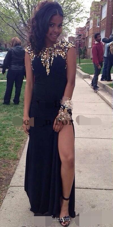 Купить с кэшбэком 2019 African Black Evening Dress Cap Sleeve Gold Beads Sequins Thigh-High Slits Formal dress Prom Gown robe de soiree
