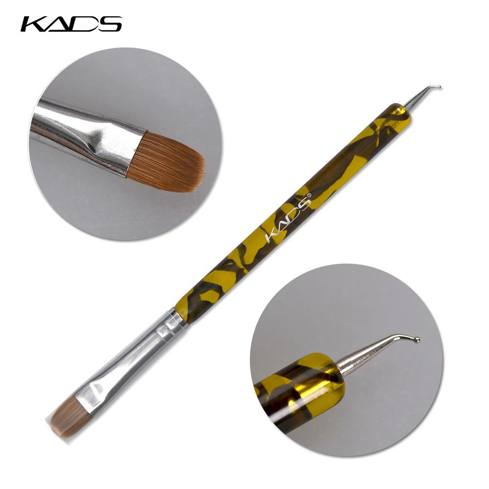KADS 100% Kolinsky French Sable Brush 2 Way Acrylic UV Gel Nail Art Builder Brush Pen Set Nail Art Brush BEND Nail Dotting Pen