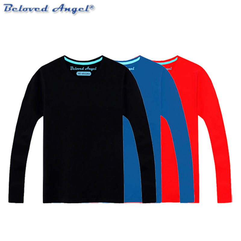 Boys T Shirt Casual Long Sleeves Kids Girls Toddler Children Cotton Tops Cartoon Baby Solid Color Tee Teens Clothing Clothes
