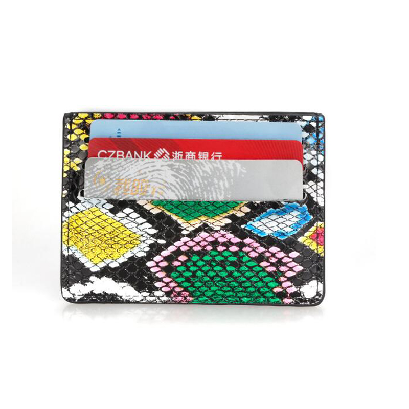 Snake Pattern Card Sets Multi-card Position Compact Card Package Mini Leather Card Holder Document Ultra-thin Wallet