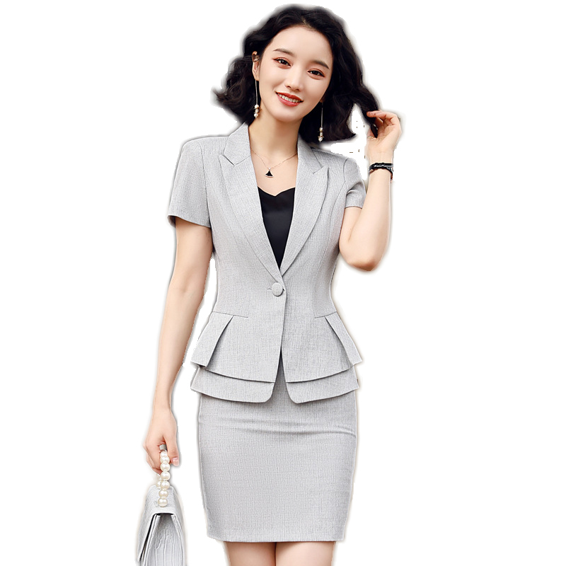 New Ladies Business Suits For Women Skirt Suits Grey Blazer And Jacket Sets Summer Office Uniform Styles Women Professional Wear