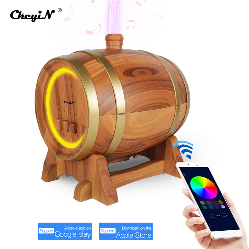 Bluetooth Music Speaker Wine Barrel Aroma Essential Oil Diffuser Waterless Auto Shut-off Timer 7 Color LED Ultrasonic Humidifier
