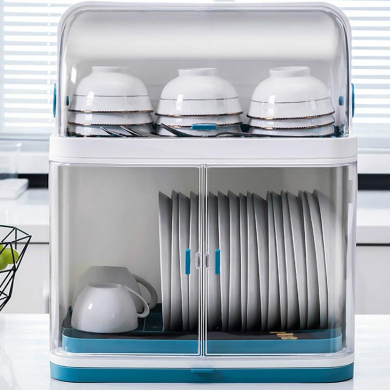 Kitchen Dish Rack Tableware Storage Box Plastic Cupboard Household Dish Plate Drain Rack With Lid LB11212