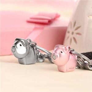 Image 4 - Milesi 3D kuss schwein paar keychain für Liebhaber Geschenk Schmuckstück schöne schlüssel halter frauen präsentieren Chaveiro sleutelhanger auto schlüsselring