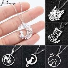 Collier en acier inoxydable avec pendentif chat Origami sur la lune, joli Animal, chaton, Bijoux pour femmes