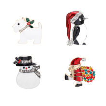 Christmas New Hot Sale Cute High Quality Alloy Brooch Pin Santa Snowman Christmas Theme Brooch Best Christmas Gift Jewelry new alloy gorgeous fashion christmas theme snowman cane santa claus color pendant bracelet bracelet christmas best gift jewelry