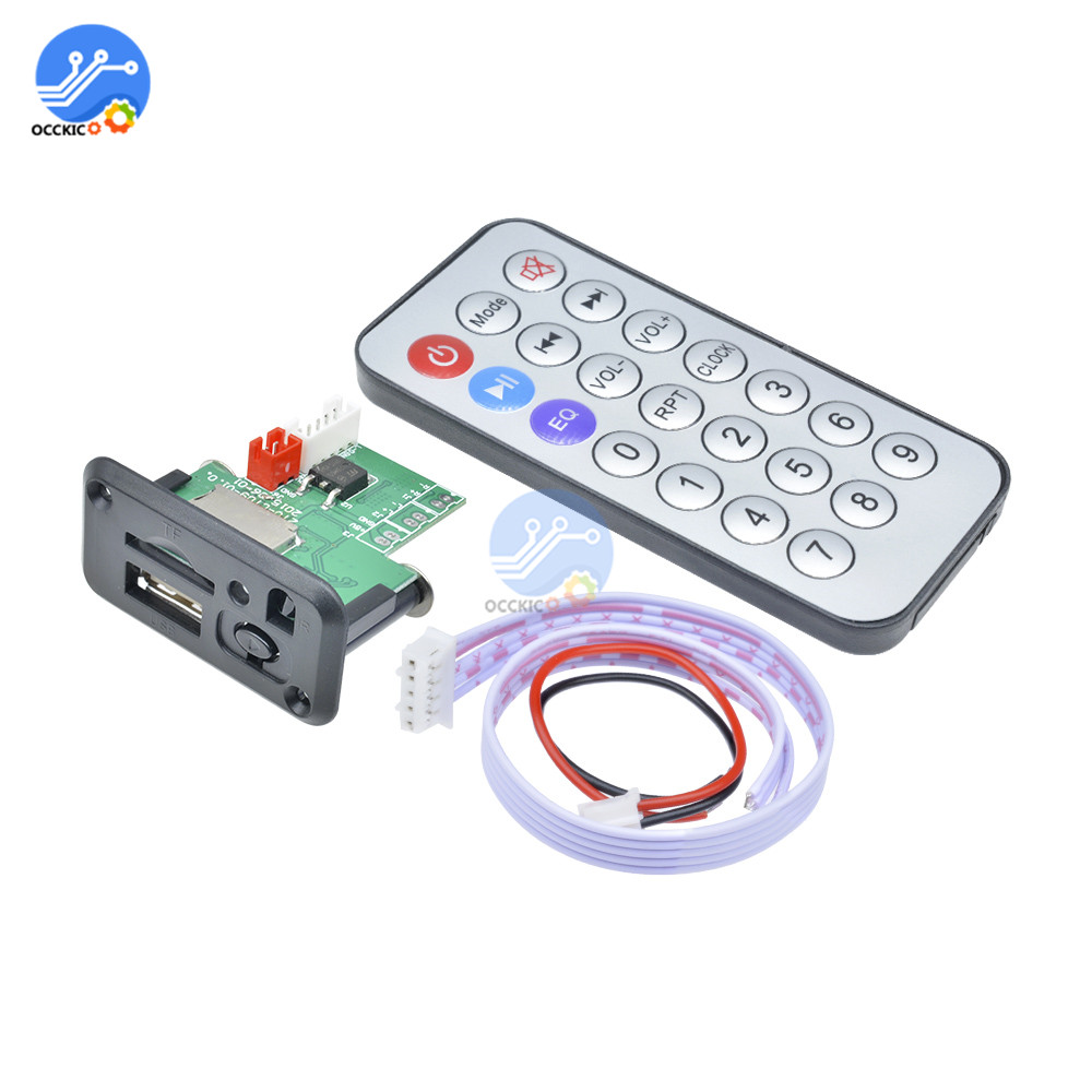 5V 12V USB MP3 Decoder Board Mini Audio Decoding Module Support TF Card Songs Player + Infrared IR Remote Control Receiver