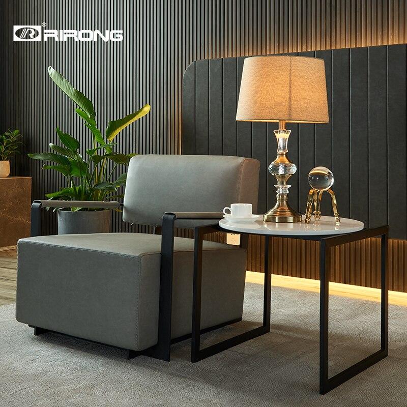 Современный дизайн, элегантный стиль дивана гостиная отель мебель для дома и офиса кожаный Диванный кофейный столик набор одного дивана - Цвет: Pu Single seat