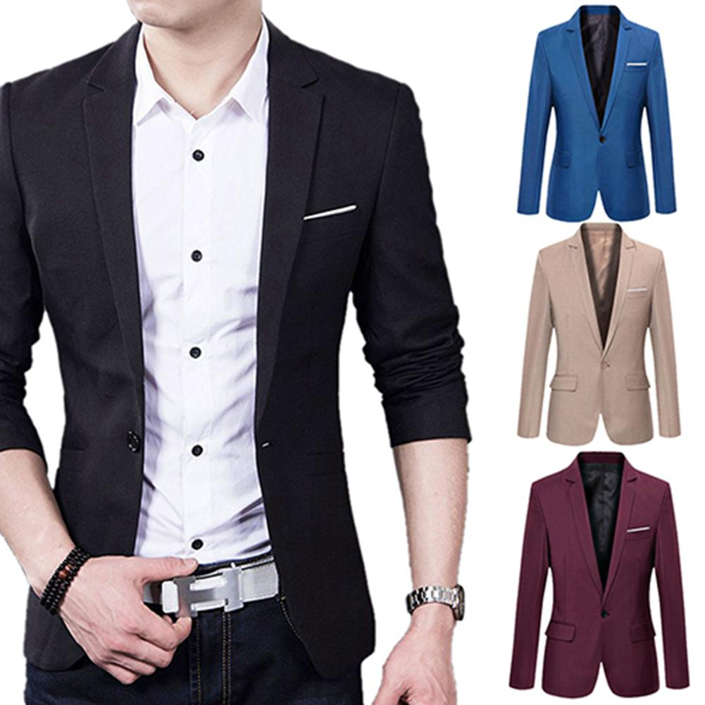 2020 Men's Slim Formal Business Suit Coat One Button Lapel Long Sleeve Pockets Top Hot Sale Mens Korean Slim Fits Male Coat