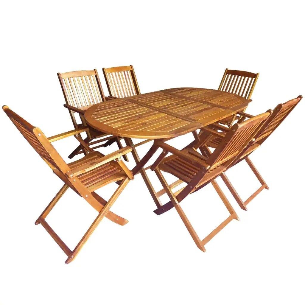 VidaXL 7 шт стол и стулья складной набор обеденной мебели для открытого воздуха из массива акации высокого качества уличная мебель