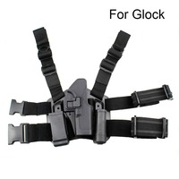 Tactical Glock Holster Quick Draw Duty Holster with Drop Leg Platform for Glock 17 19 22 23 31 Handguns Right or Left Hand Use