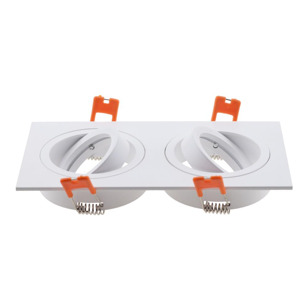 2020 Hot Sale Square Aluminum Double Heads LED Downlight Light Holder GU10 Fitting Fixture Frame Spot Light Bracket For MR16