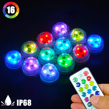 10Led Remote Controlled RGB Submersible Light Battery Operated Underwater Night Lamp Outdoor Vase Bowl Garden Party Decoration#1 image