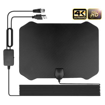 Gorący 4K 1080P cyfrowy HDTV kryty TV wzmacniacz sygnału anteny dla promień TV Surf Fox Antena 60-130 mil HD TV anteny anteny tanie i dobre opinie kebidumei VHF (170-240Mhz) UHF( 470-860Mhz) Indoor TV Antenna