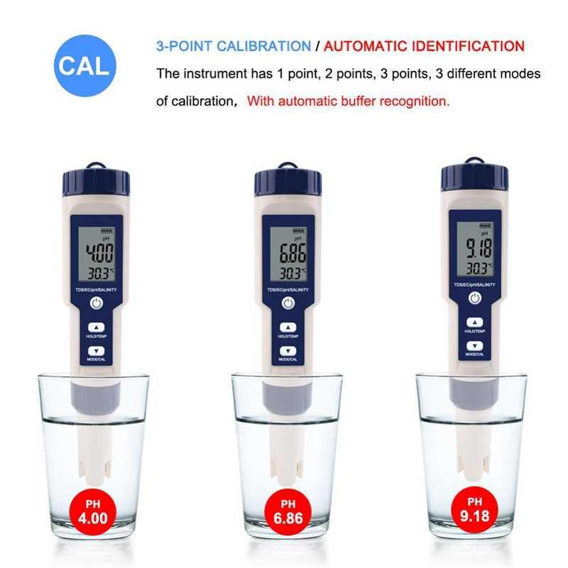 Профессиональный цифровой тестер воды 5 в 1, тестер PH/TDS/EC/солености/температуры, Водонепроницаемый Многофункциональный измеритель