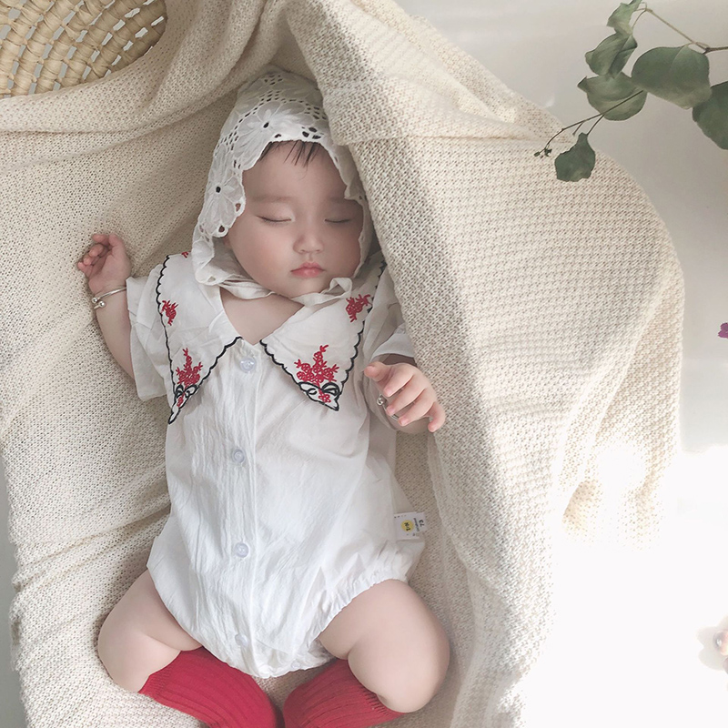 MILANCELsummer Baby Clothing Turn Down Collar Baby Girls Clothes Embrodiery Toddler Girls Outfit Baby Jumpsuit