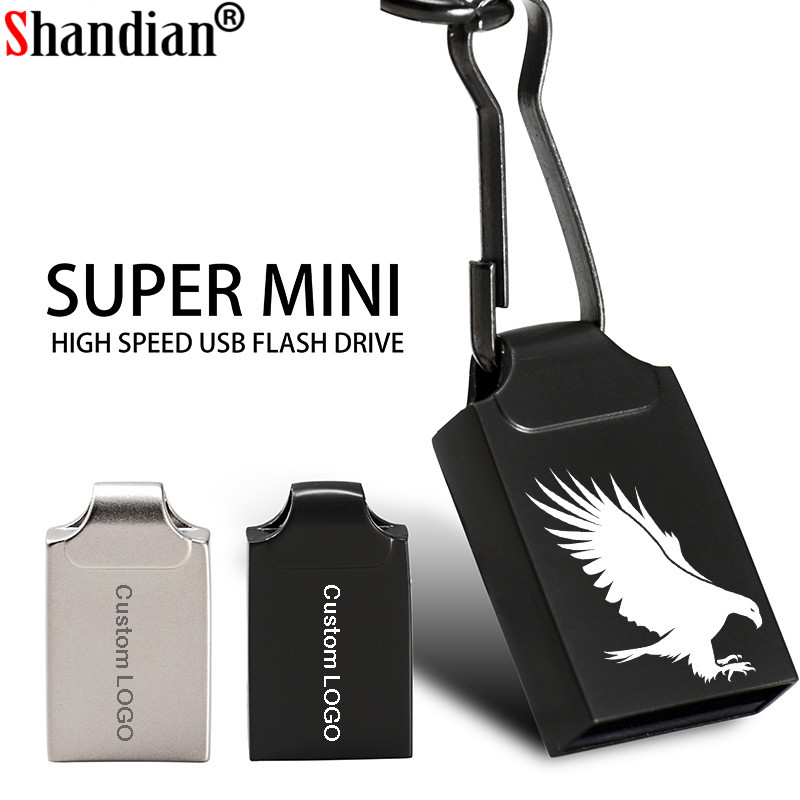 SHANDIAN USB Flash Drive Pen 64G 32G 16G 4GB Metalen Sleutelhanger Memory Sticks Pen Drive 100% Real Capaciteit Mini Metalen Usb