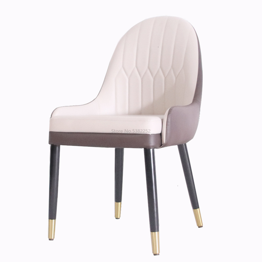 Dining Chair Simple And Durable Restaurant Negotiation Chair Solid Wood Metal Feet Leisure Pu Leather Back Chair