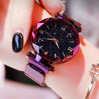 Reloj Mujer Luxury Starry Sky Women Watches Magnetic Mesh Belt Band Watch Women