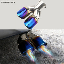 цена на Car Exhaust Muffler Tip Round Stainless Steel Pipe Chrome Exhaust Tail Muffler Tip Pipe For Mitsubishi Outlander 2013-2018