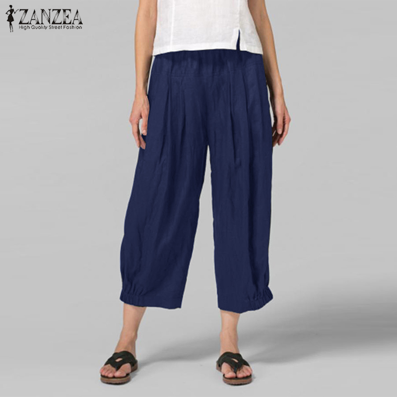 ZANZEA Oversize Women's Pants Long Trousers Female Casual Wide Leg Pants Elastic Waist Pockets Pantalones Mujer Loose Pantalon 7