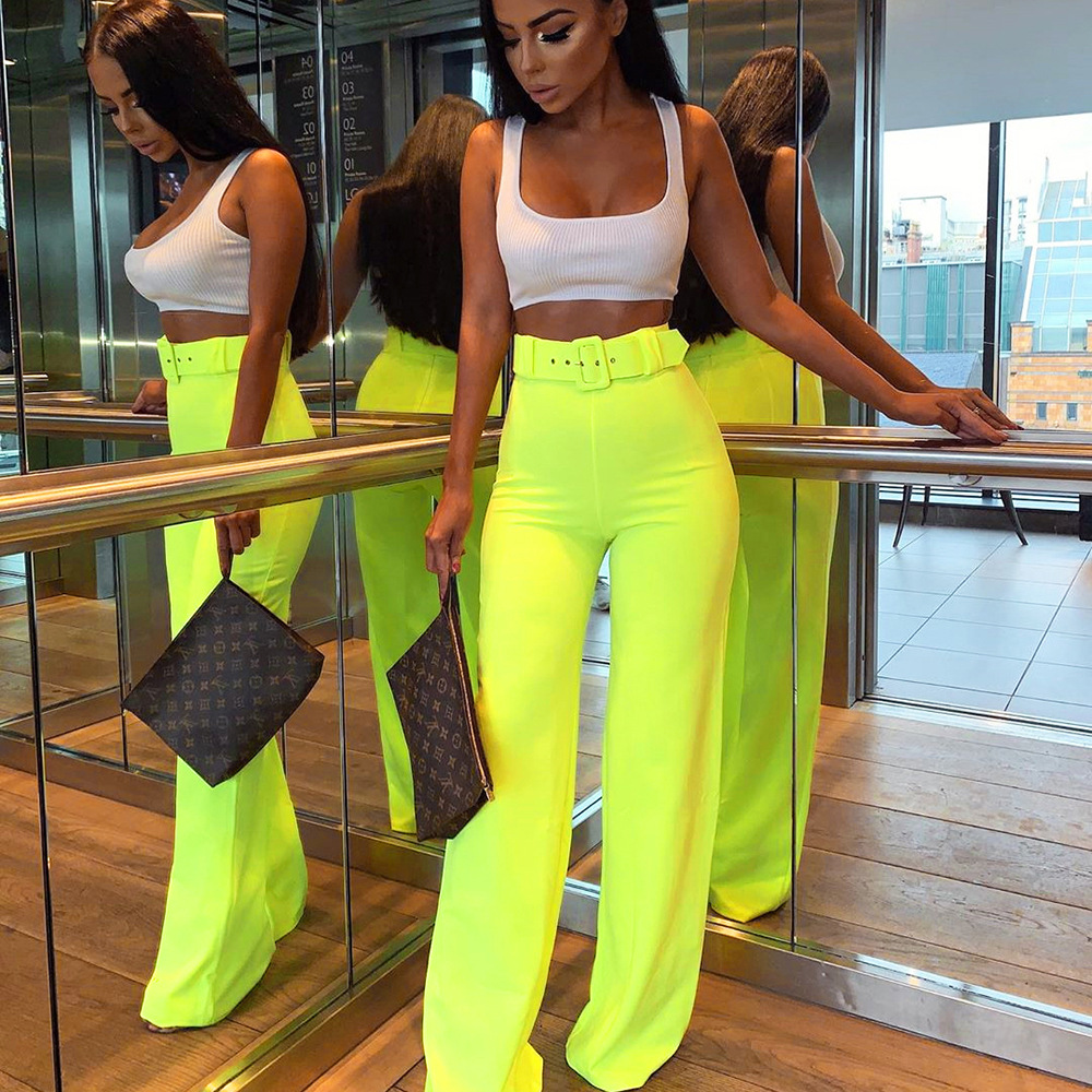 Women's Middle Waist Lime Neon Colour Wide Leg Pants Casual Trousers Candy Color Overall Straight Trousers 2019
