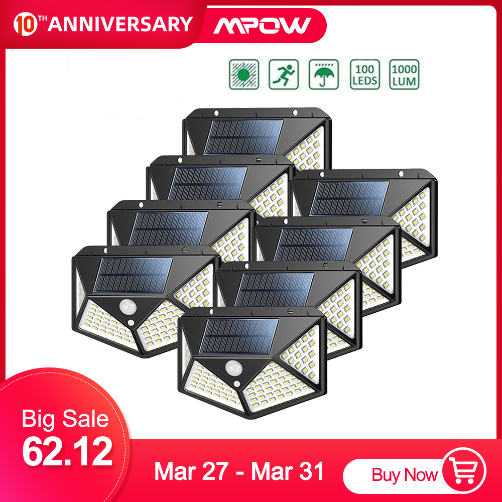 8Pcs/lot 100LED Outdoor Solar Lights MPOW Motion Sensor Light Super Bright 270° Wide Angle Wireless Waterproof IP65 Wall Lights