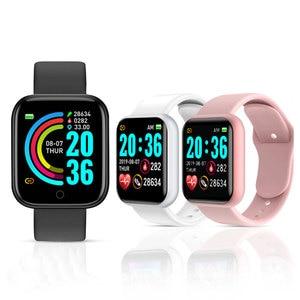 Y68 relógio inteligente das mulheres dos homens do esporte bluetooth banda inteligente monitor de freqüência cardíaca pressão arterial fitness rastreador pulseira para android ios