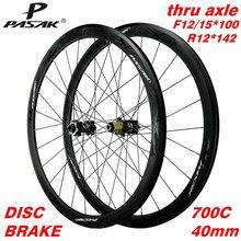 Pasak pneu de freio a disco, 700c, rodas de estrada, freio a disco através do axle f12 f15x100 r12x142 v, 24 furos, 40mm clincher rodas de bicicleta 23c 28c