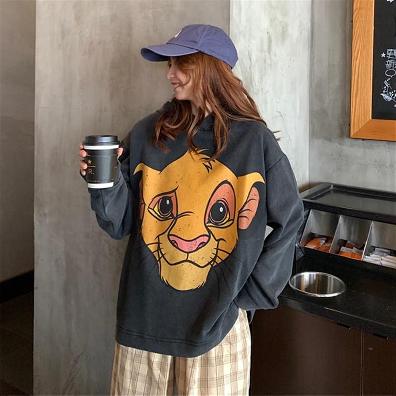 The Lion King Cartoon Print Hoodie Women Loose Casual Cute Long Sleeve Lady Pullover Tops Harajuku Streetwear Sweatshirt Clothes