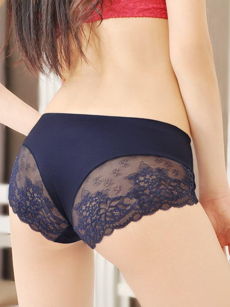 Sexy Lace Panties Seamless Women Underwear Briefs Nylon Silk for Ladies Bikini Cotton Transparent Lingerie DULASI 3 pcs set 5
