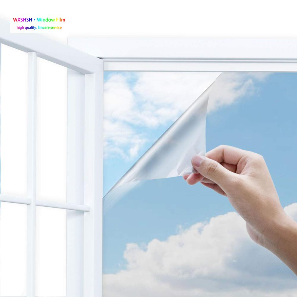 0 6 3 m One Way Window Film Anti UV Self adhesive Glass Stickers Light Blocking Privacy Decorate Heat Control Glass Tint Silver in Decorative Films from Home Garden