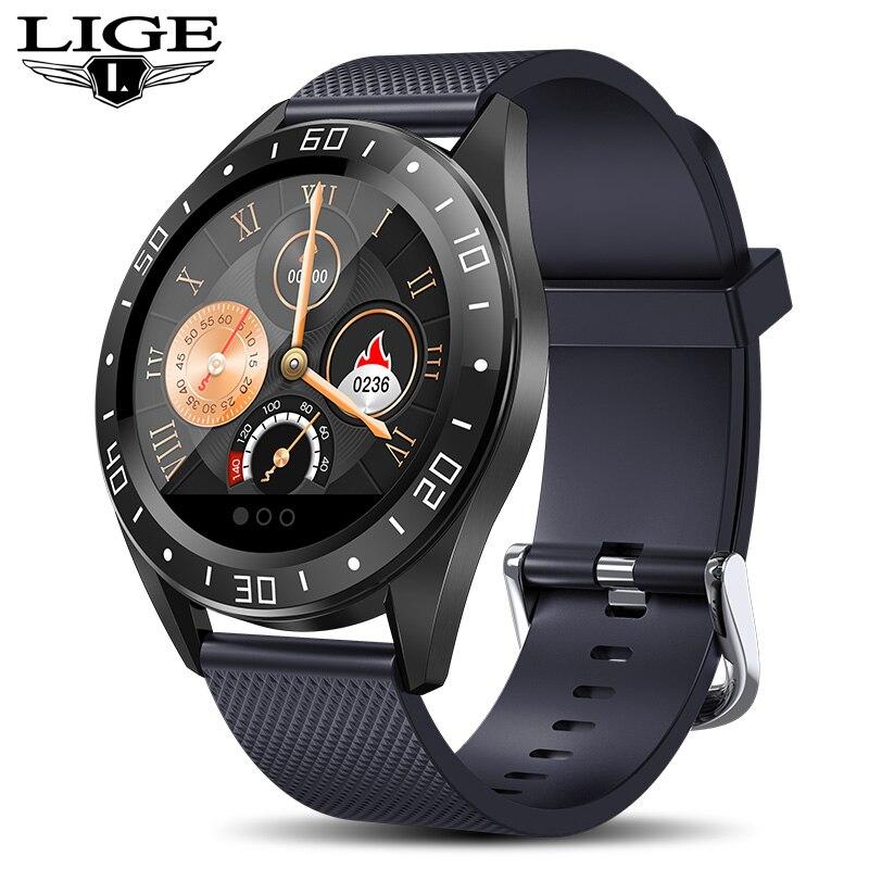 LIGE 2019 New stainless steel Black Smart Watch Men Heart Rate Blood Pressure Fitness tracker Sport Watch waterproof Smartwatch