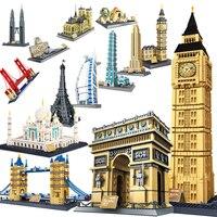 WanGe City 2019 Compatible Legoed Architecture Taj Mahal London Paris Town Bridge Building Blocks Children Assemble Bricks Toys