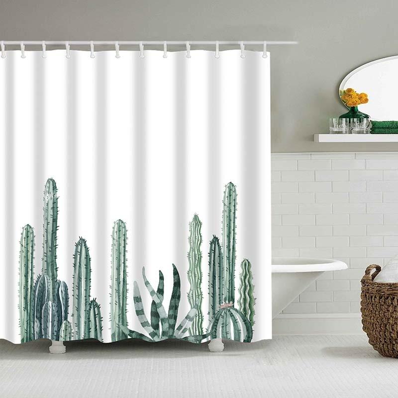 Тропический кактус, занавеска для душа, полиэфирная ткань, занавеска для ванной комнаты, украшения для ванной комнаты, мульти-размер, занавеска для душа с принтом s - Цвет: 2
