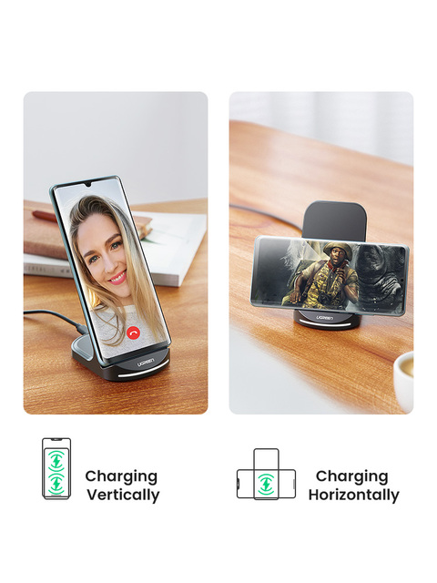 Ugreen Qi Wireless Charger Stand for iPhone 12 Pro X XS 8 XR Samsung S9 S10 S8 S10E Fast Wireless Charging Station Phone Charger 2