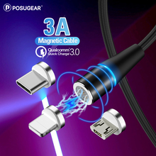 Posugear Magnetic Micro USB Cable Fast Charging Type C Data Magnet Charger Wire Mobile Phone For iphone  Samsung