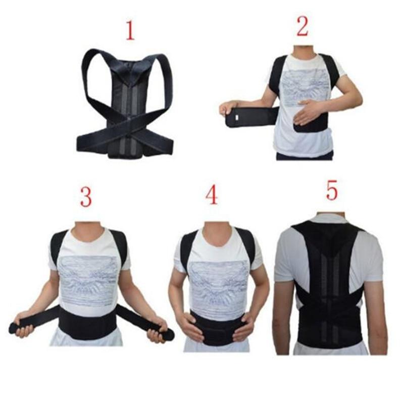 Adjustable Black Back Posture Corrector Shoulder Lumbar Spine Brace Support Belt Health Care for Men Women Unisex 3