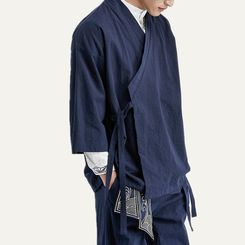 Chinese Style Flax Jacket Han Suit Men's Suit Loose Seven Sleeves Ancient Style Tang Road Robes.