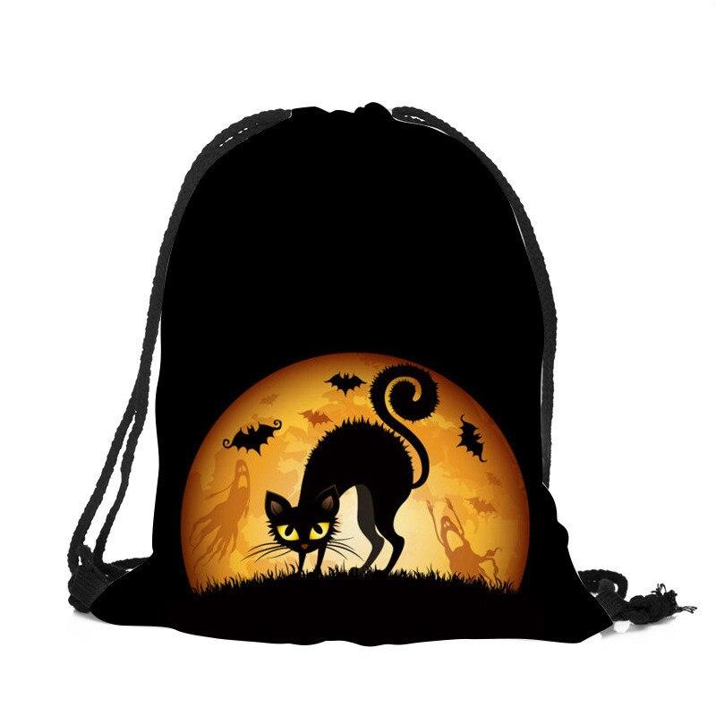 3D Print Halloween Drawstring Bag Cute Cats Pumpkin Bat Drawstring Backpack Unisex Men And Women Casual Travel Daily Bags