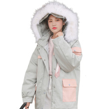 Winter Jacket Women Parka Manteau Femme Hiver Sweet Style Pink Pocket Big Wool Collar Dames Jassen Winter Cotton Long Coat manteau femme hiver winter jacket women caramel color windproof high collar thick down cotton jacket plus size loose long parka