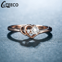 Cuteeco Summer Collection Rose Gold Color Pan Ring Heart To Finger Double Engagement Jewelry For Women