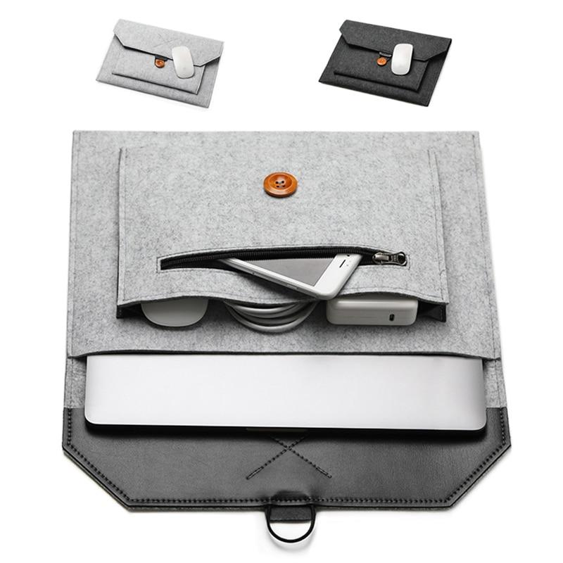 Fashion Wool Felt Notebook Sleeve Bag Laptop Handbag Case For Macbook Air Pro 11 12 13 15 Xiaomi Lenovo IPad Tablet Laptop Bag