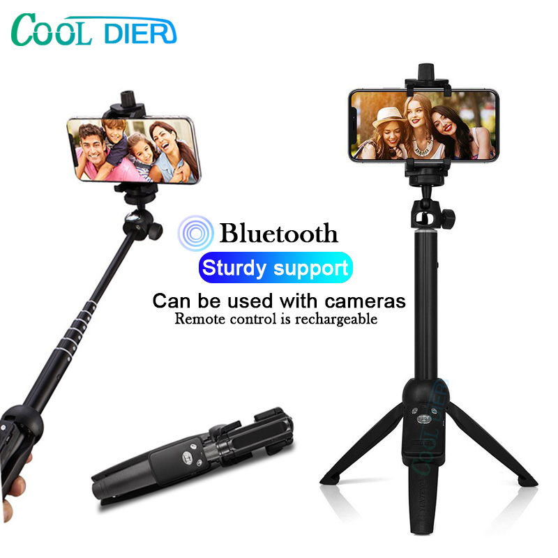 COOL DIER Portable Bluetooth Selfie Stick Tripod With Wireless Remote Extendable Foldable Monopod For Action Camera IOS Android