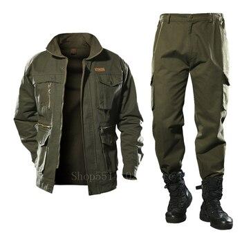 Cotton Men's Military Jacket Cargo Pants Set Tactical Camouflage Multicam Combat Uniforms Bomber Soft Winter Outdoor Workwear