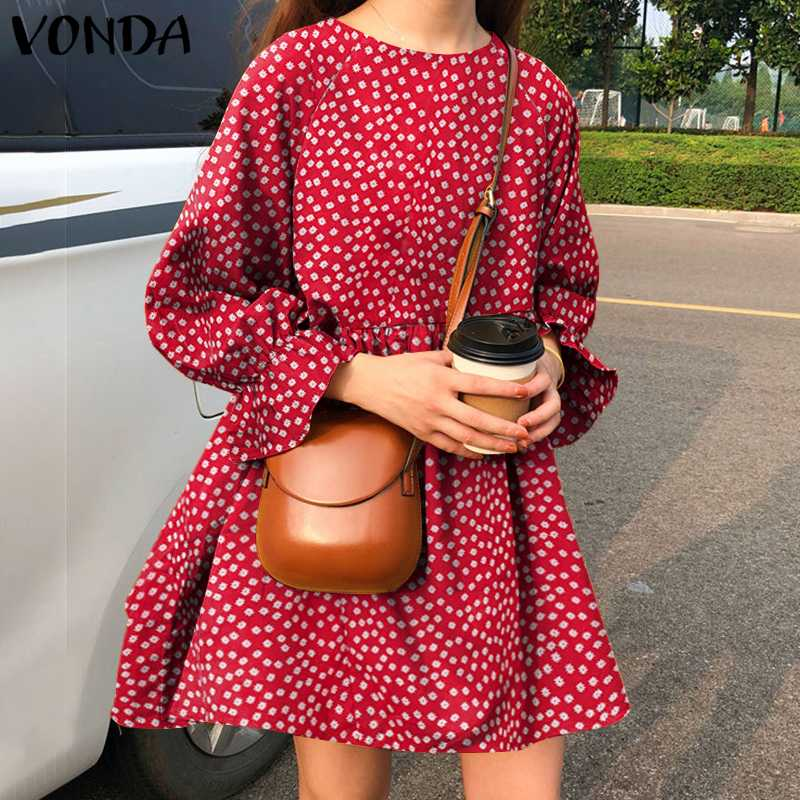 Casual Long Sleeve Printed Dresses Stylish Mini Dress VONDA Women Bohemian Dresses Korean O Neck Vestidos 2021 Floral Sundress