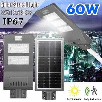 60W LED Wall Lamp IP67 Solar Street Light PIR Motion Sensor Light Sensor Rechargeable Solar Power Street Light