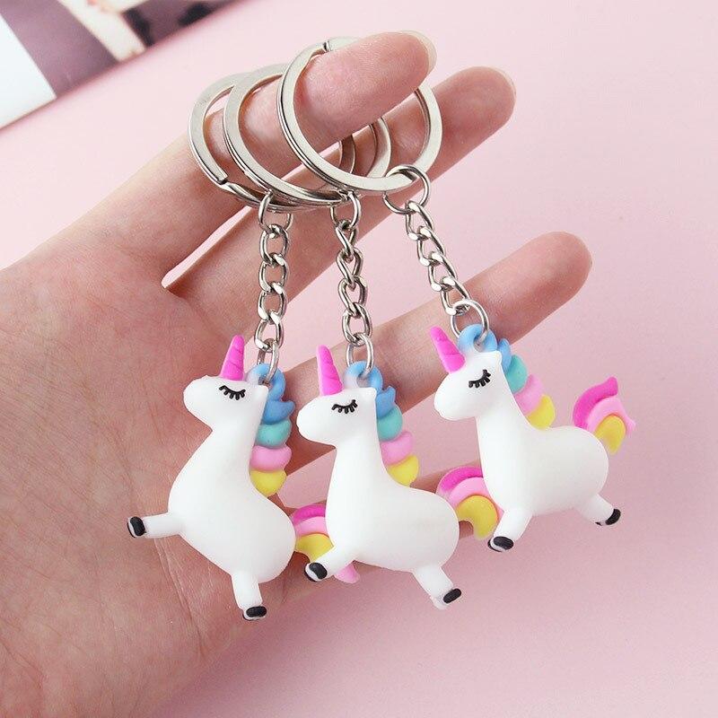 Cartoon Small Unicorn Pendant Key Pendant Plush Toys Keyring Girl Kids Gift Peluche Silicon Licorne Soft Toys