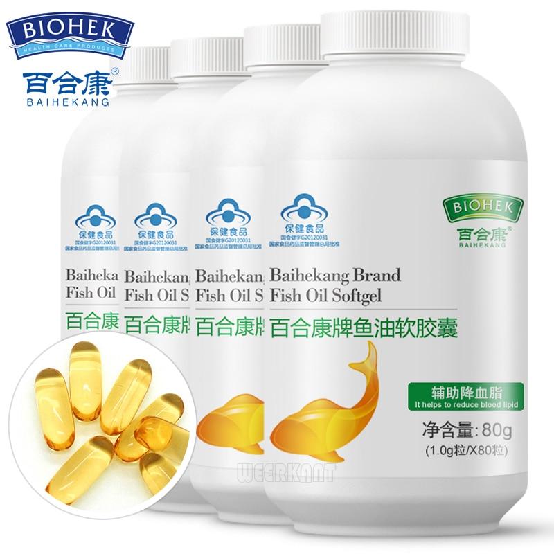 Omega-3 Fish Oil 1000 Mg DHA EPA Capsules Supports Heart Health 320 Pcs 4 Bottles
